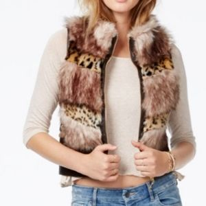 GUESS Faux-Fur Animal-Print Contrast Vest